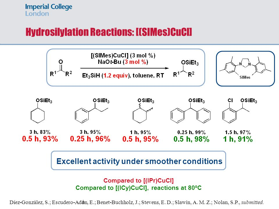 Hydrosilylation Reactions: [(SIMes)CuCl]